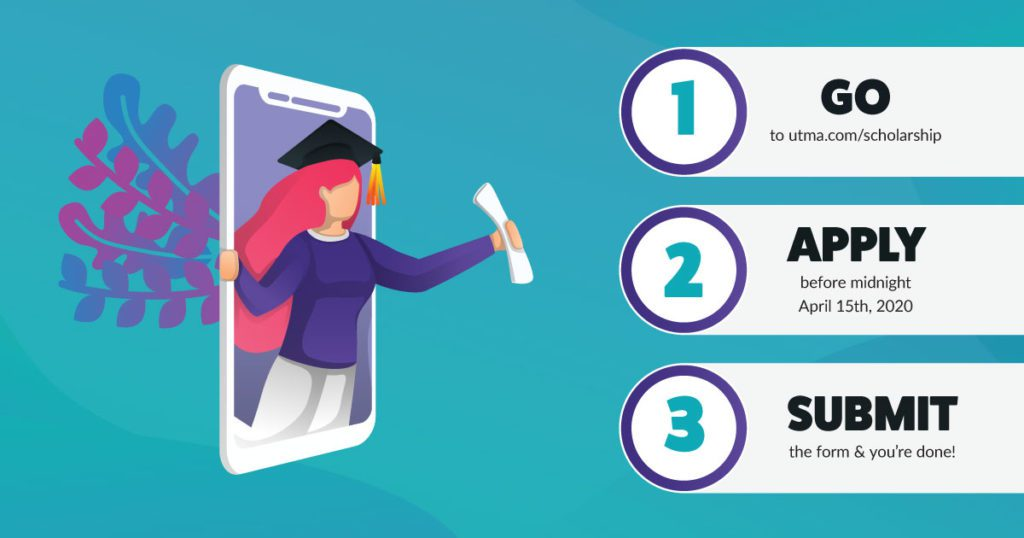 Illustration of female graduate coming out of cellphone on the left and instructions for how to apply for scholarship to right.